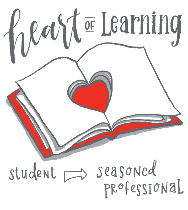 Book and a heart illustrate continuing education throughout a career
