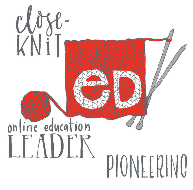 Yarn and knitting needles represent close knit online education leader