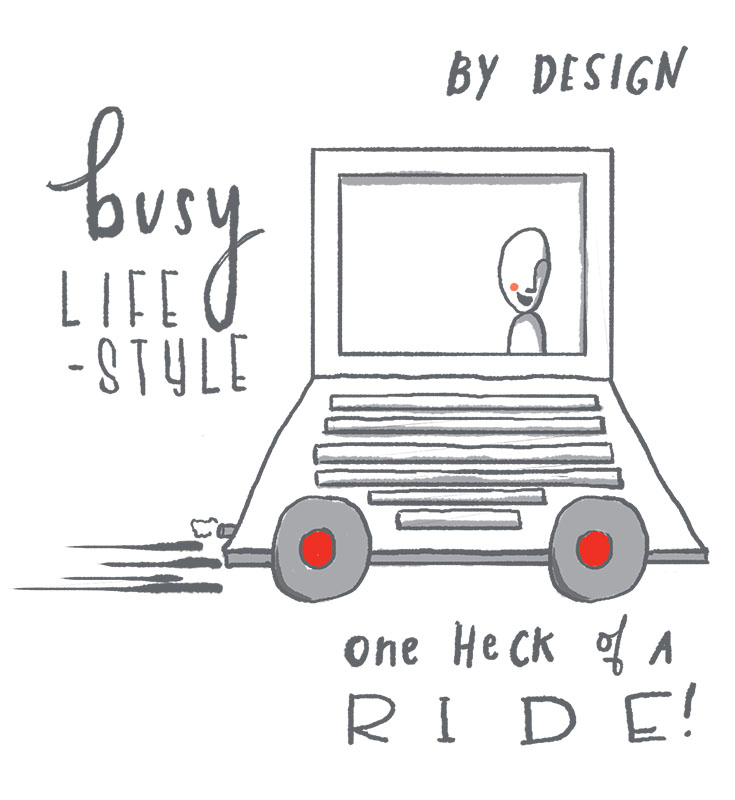 Computer with wheels attached represents a business model that suits a busy lifestyle